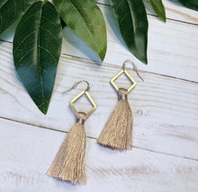 Load image into Gallery viewer, Geometric Tassel Earring - Mauve Pink