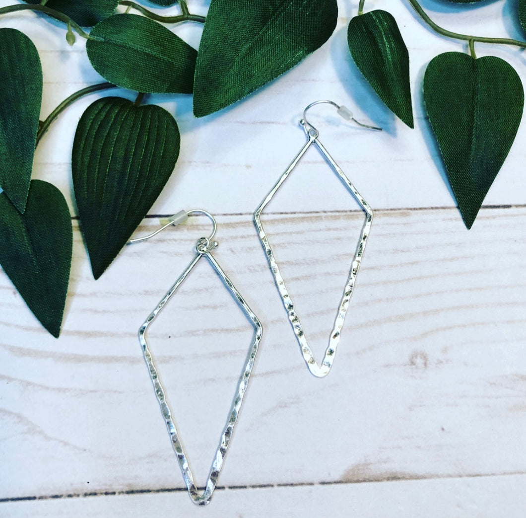Geometric Diamond Hoop Earring - Silver