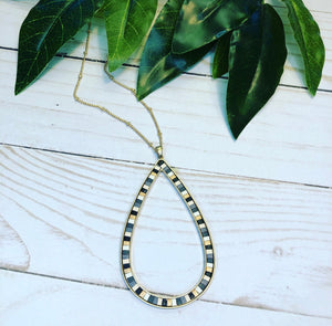 Striped Teardrop Necklace
