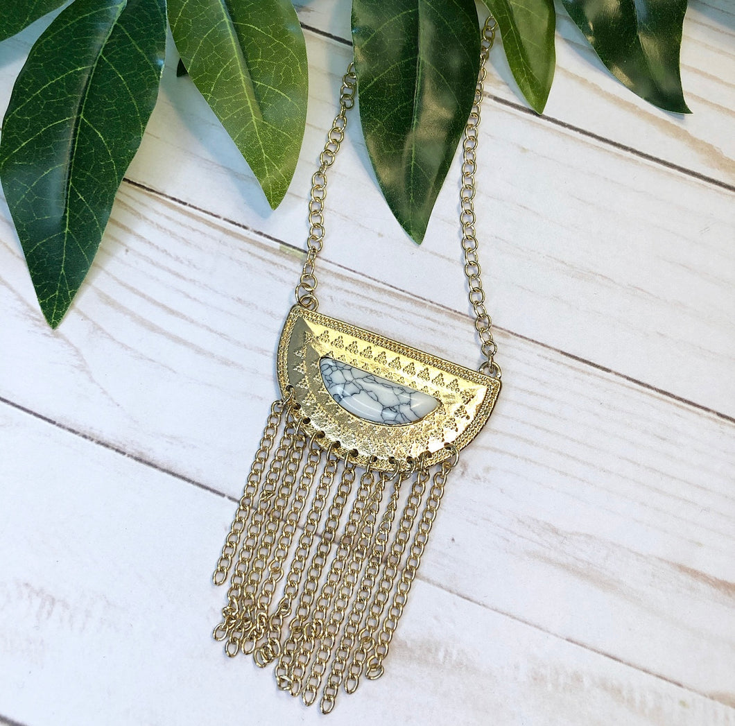 Geometric Boho Fringe Necklace - White Marble