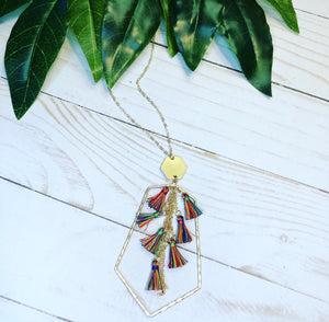 Hexagon Multi Tassel Necklace - Rainbow