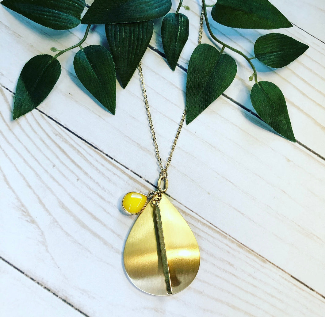 Gold Teardrop Necklace - Canary