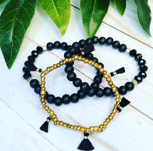 Tassel Bracelet Set- Black & Gold