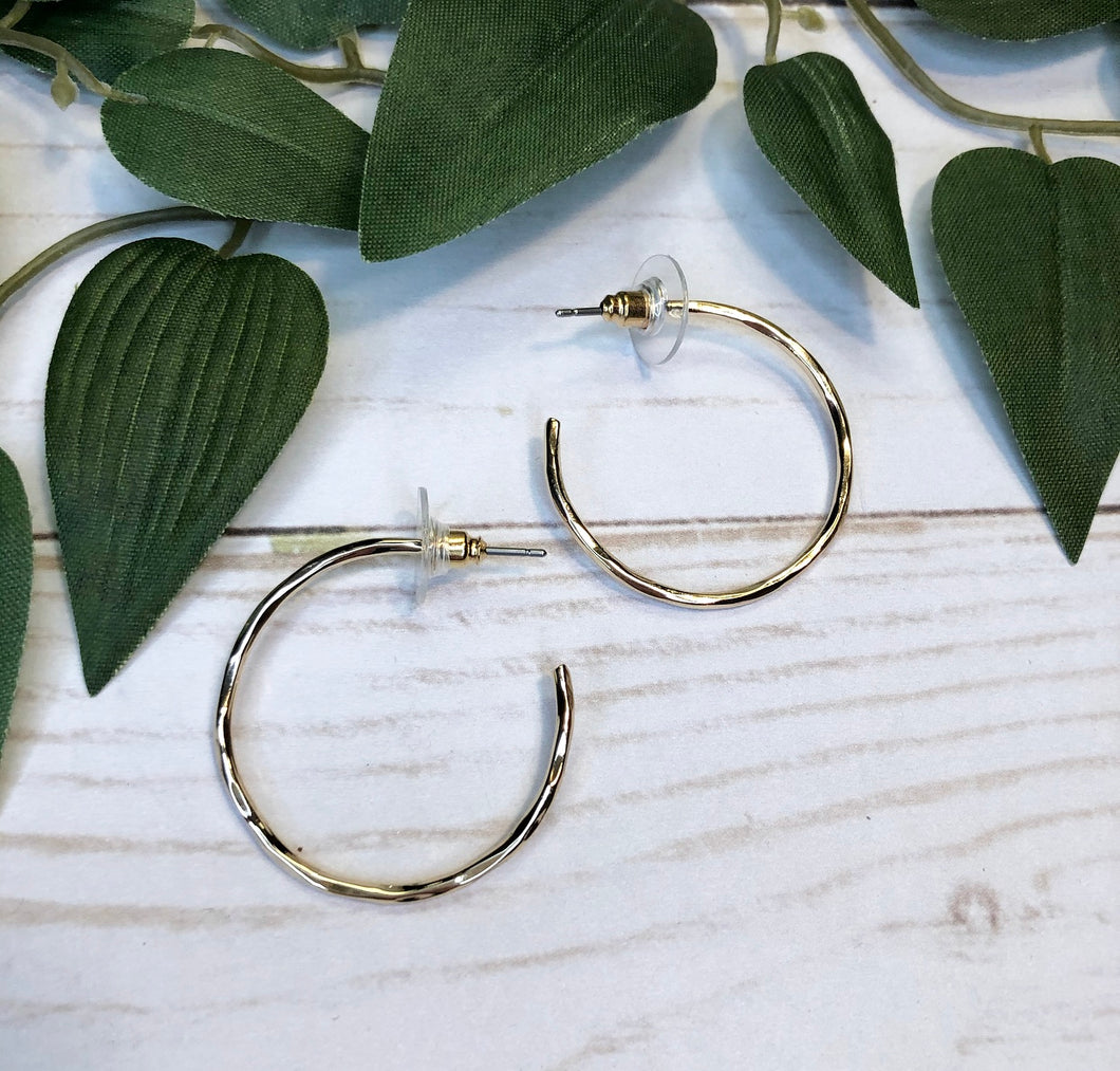 Thin Hoop Earring ( small ) - Gold