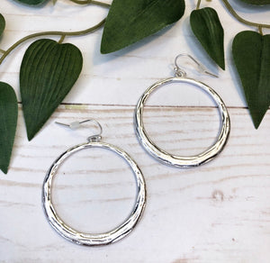 Thick Silver Hoop Earring - Medium Size
