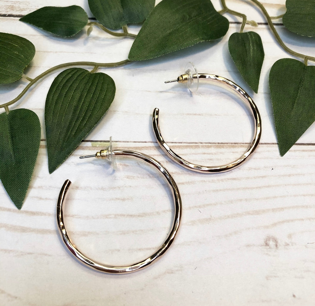 Rose Gold Hoop Earring - Medium Size