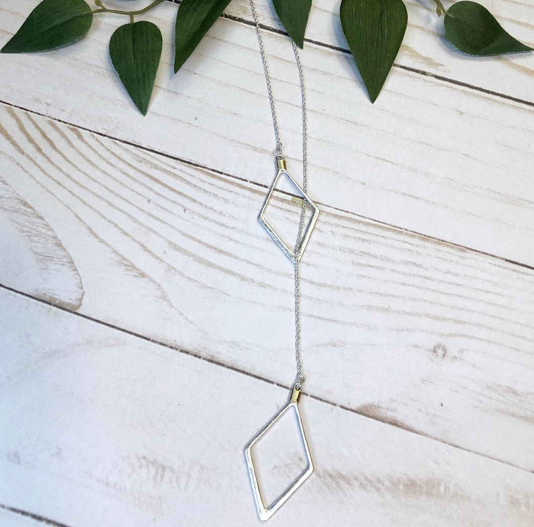 'Seeing Double' Geometric Necklace - Silver