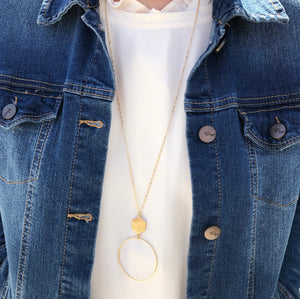 Hexagon Sphere Necklace - Gold