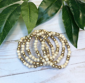 Beaded Bracelet Set - Ivory & Gold