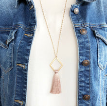 Load image into Gallery viewer, Geometric Tassel Necklace - Mauve Pink