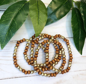 Beaded Bracelet Set - Teak & Gold