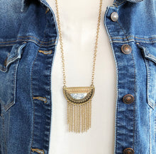 Load image into Gallery viewer, Geometric Boho Fringe Necklace - White Marble