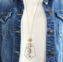 Load image into Gallery viewer, Hexagon Multi Tassel Necklace - Slate