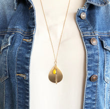 Load image into Gallery viewer, Gold Teardrop Necklace - Canary