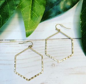 Hexagon Hoop Earring - Gold