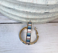 Load image into Gallery viewer, Stripe Gold Hoop - Blue Multi