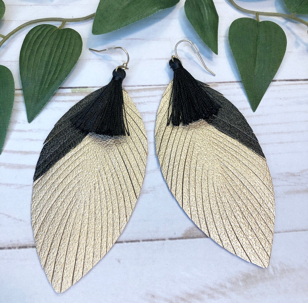Tassel Leather Earring - Black