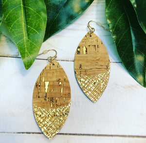 Gold Foil Leather Earring - Natural