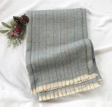 Load image into Gallery viewer, Herringbone plaid scarf - Light blue multi