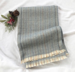 Herringbone plaid scarf - Light blue multi