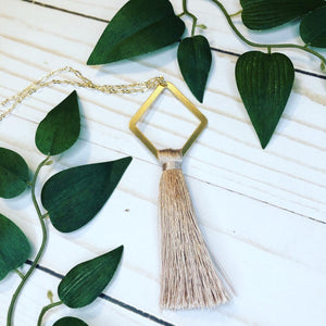 Geometric Tassel Necklace - Mauve Pink