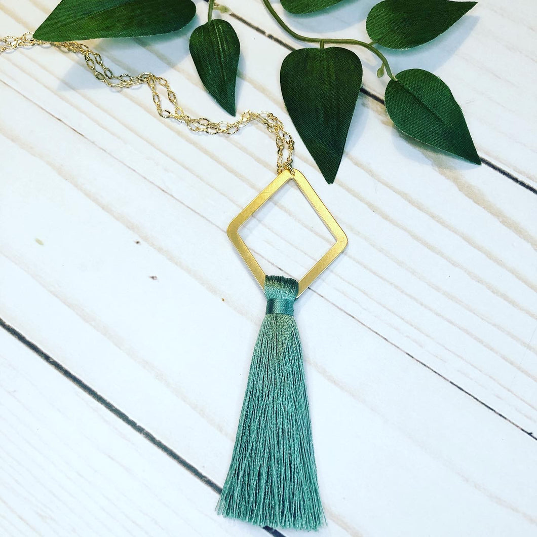 Geometric Tassel Necklace - Mint