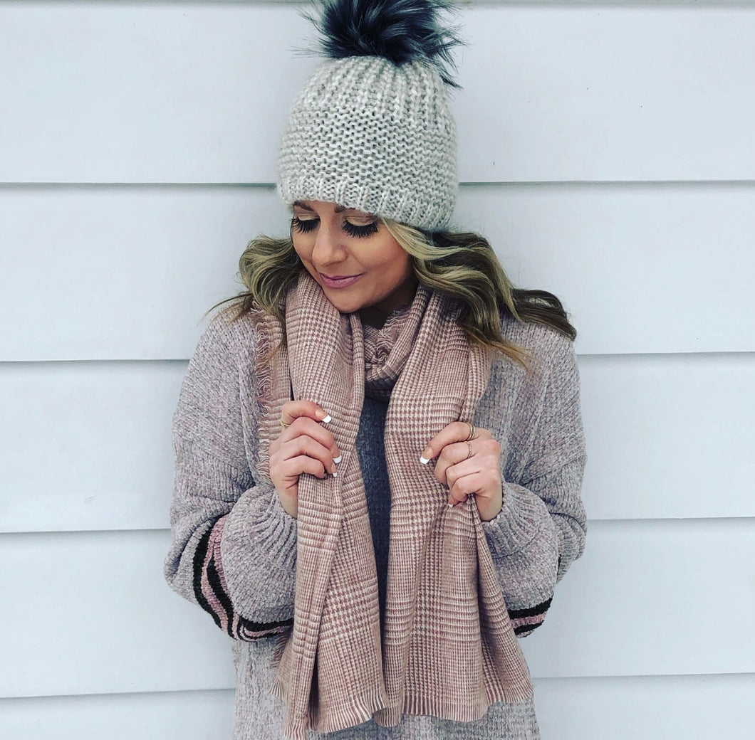 Blush Herringbone blanket scarf