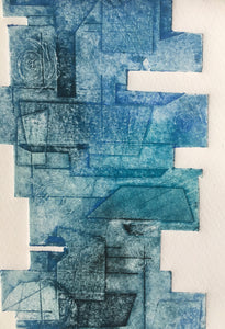 Zen #1 - Handmade Collagraph Print with Wooden Hanger