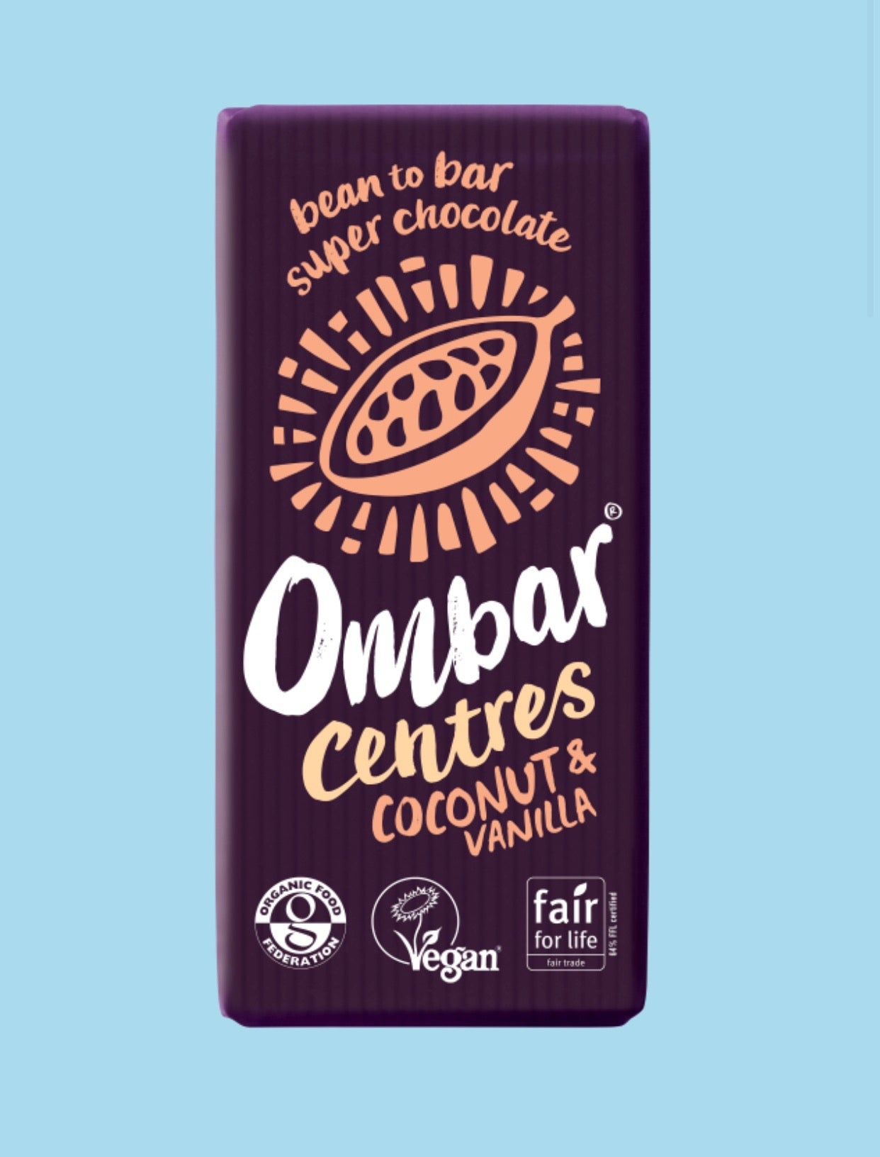 Coconut & Vanilla Centre Bar / Vegan Chocolate, Ombar (70g)