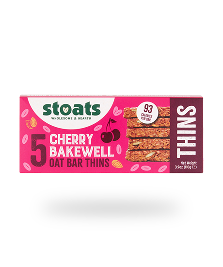 Cherry Bakewell Oat Bar Thins, Stoats (5 pack)