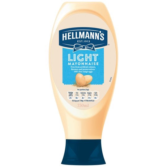 Light Squeezy Mayonnaise, Hellmanns (750ml)
