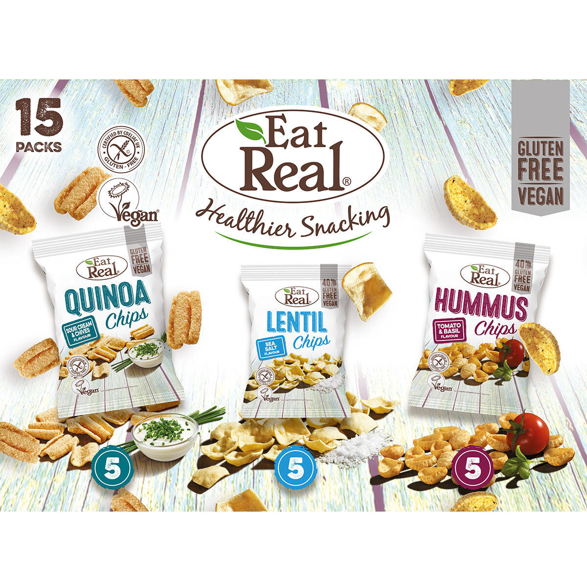 Mixed Flavour Multi-Pack, Hummus Lentil Quinoa Chips, Eat Real (15pk)