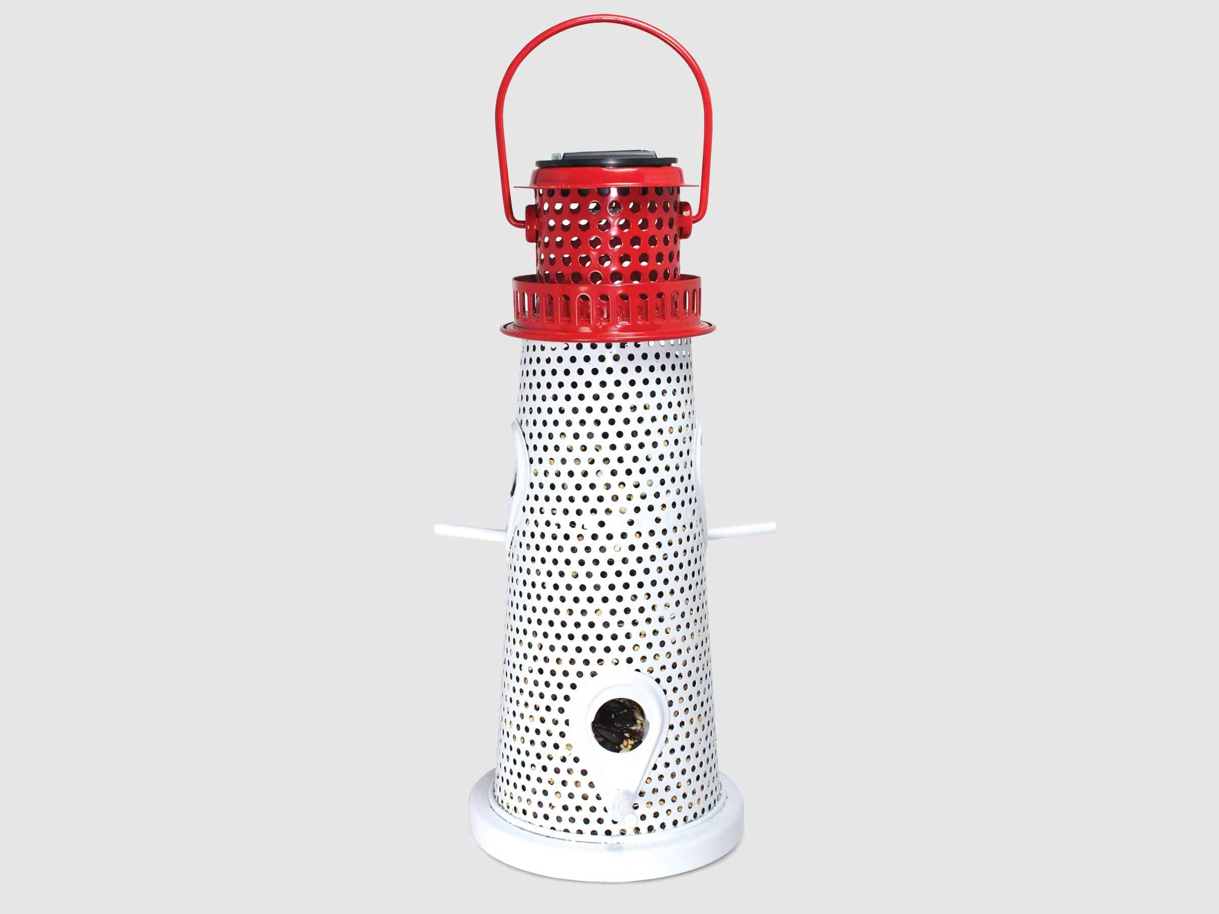 Lighthouse solar light bird feeder