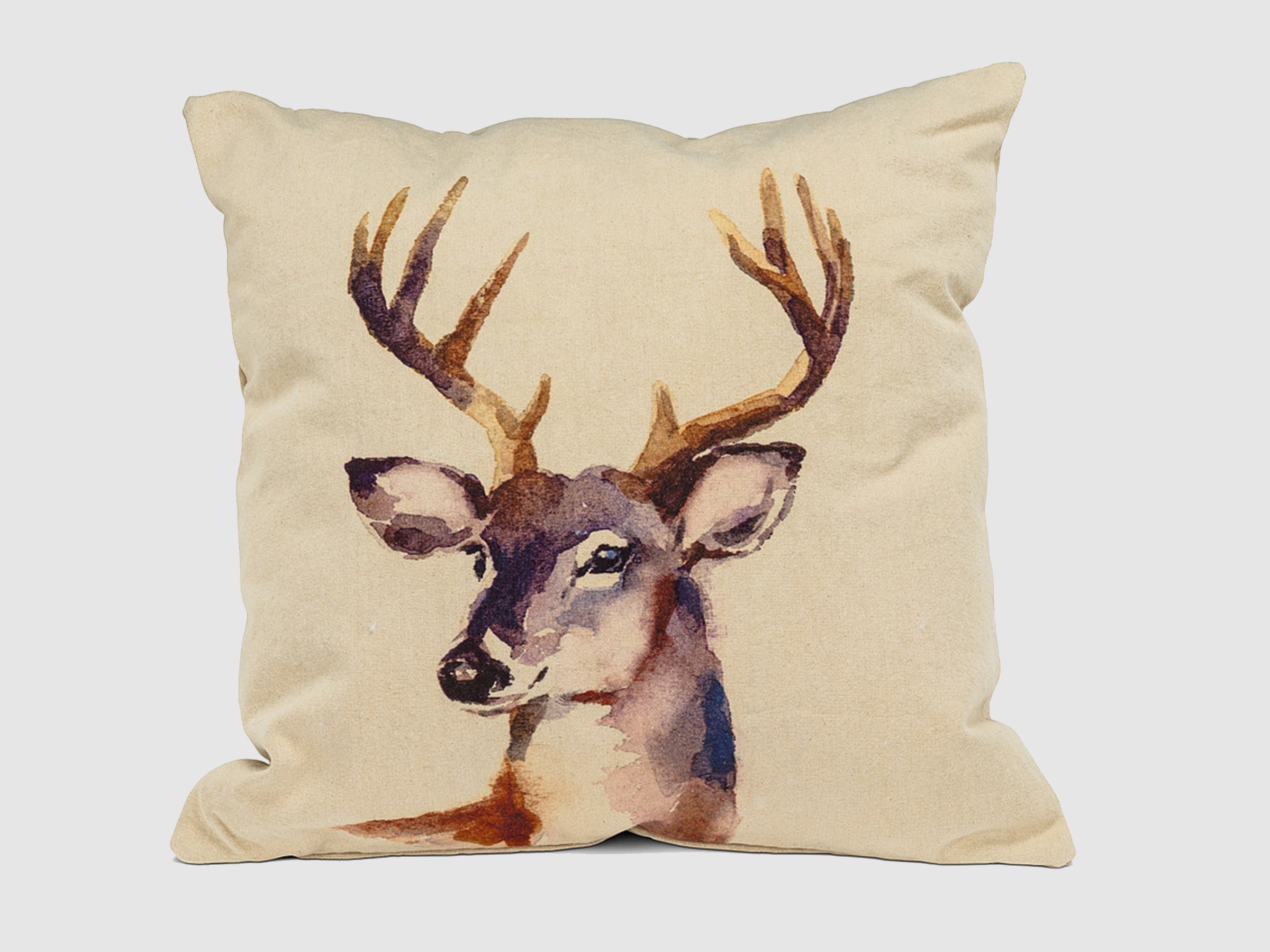 Square Stag Head Pillow