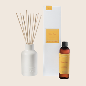 The Valencia Orange Reed Diffuser set allows for the continuous release of fragrance over months at a time. Filled with the bright, zesty fragrance of sweet oranges mixed with notes of apples and red berries with a hint of citrus peel - this reed diffuser is the perfect no-flame, fragrant accent to your favorite space.