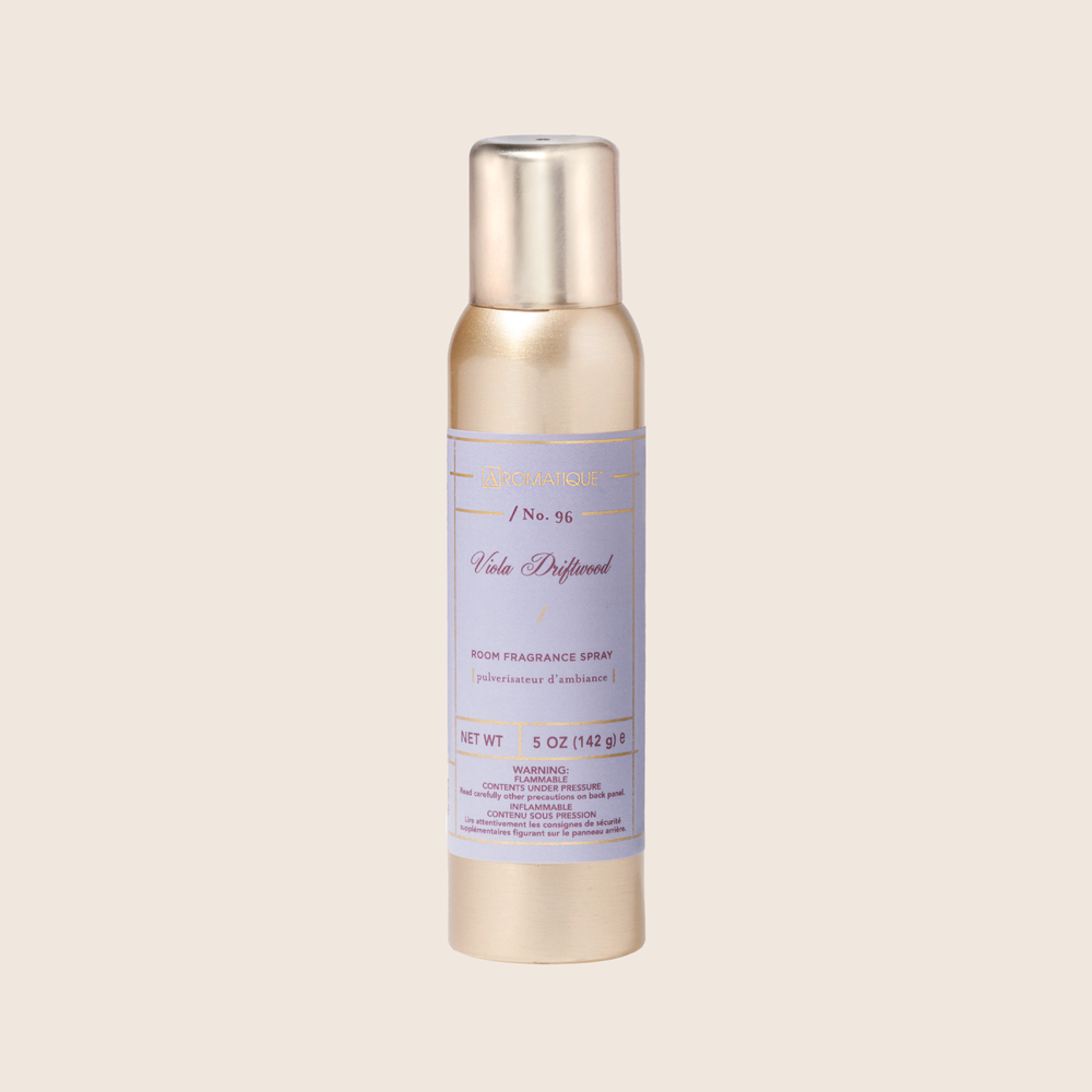 Refresh your space with a mist of calming fragrance with the Viola Driftwood Aerosol Room Spray. A light spray of this fine mist will fill your room with a soothing blend of mandarin, currant, grapefruit, cardamom, violet leaf, ozone, vetiver, amber, and musk - adding fresh tranquility to any space.
