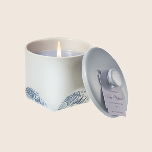 The Viola Driftwood Small Limited Edition Candle conjures an oceanside scene with a calm, watery fragrance of violet leaves paired with cedar, vetiver, and infused citrus. Our candles are all hand-poured in Arkansas. Made with a proprietary wax blend, ethically sourced containers and cotton wicks. Light one of these aromatic candles and transport yourself to a memory or emotion.