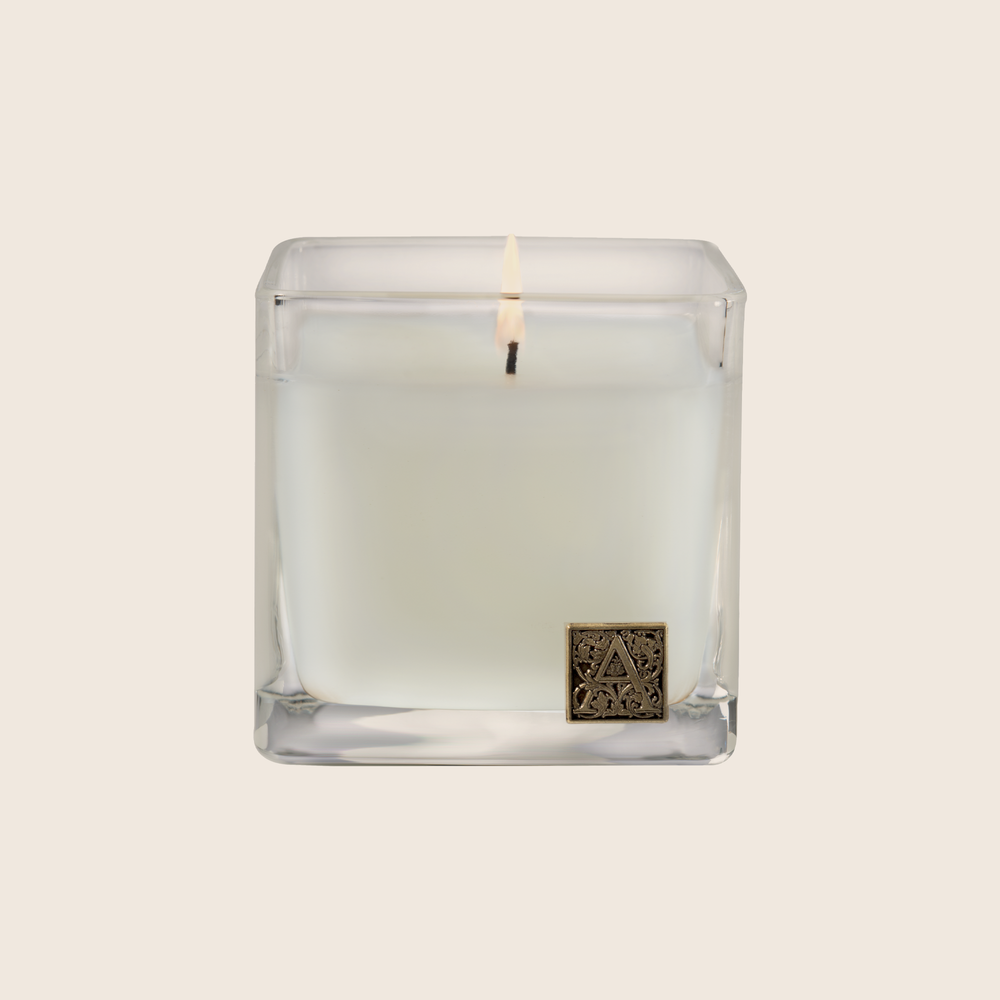 White Teak & Moss - Cube Glass Candle