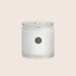 White Teak & Moss - Textured Glass Candle