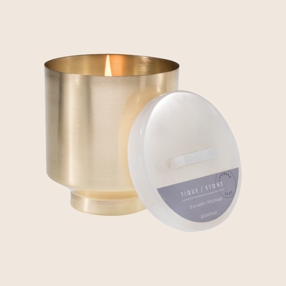 Release. Quietly unwind with this calming fragrance that balances your mind and spirit. Our Lavender Sage Onyx Brass Candle was designed to bring luxury and wellness together. Made with beautifully aged brass and onyx, and using quality ingredients such as coconut blend wax and essential oil blend fragrances, this candle encompasses style and dedicated self care.