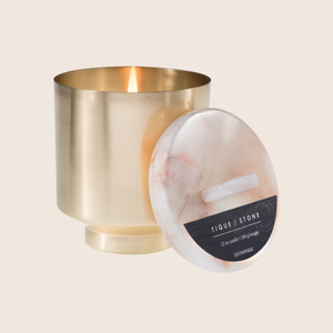 Replenish. Mentally exhausted? The essence of this fragrance will restore brain power and energy. Our Elderflower Vetiver Onyx Brass Candle was designed to bring luxury and wellness together. Made with beautifully aged brass and onyx, and using quality ingredients such as coconut blend wax and essential oil blend fragrances, this candle encompasses style and dedicated self care.