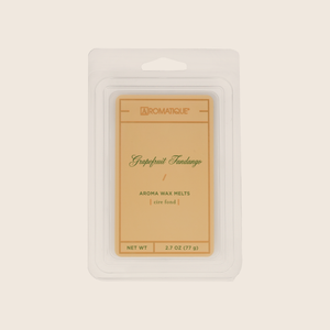 Tangy citrus notes blended with cassis and peach, accented with rose and musk, make Grapefruit Fandango Wax Melts a bright and cheery addition to any space. Aromatique Wax Melts are a set of 8 cubes that contain 100% food-grade paraffin wax and a highly fragrant aroma - no wicks or flames needed.