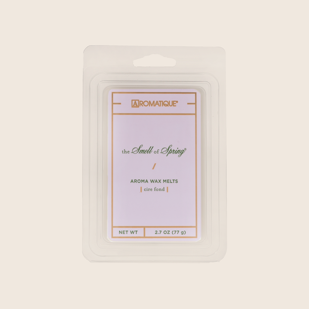 The Smell of Spring® Aroma Wax Melts bring your ideal spring garden into your home with floral fragrances of hyacinth, jasmine, and rose, touched lightly with lily of the valley. Aromatique Wax Melts are a set of 8 cubes that contain 100% food-grade paraffin wax and a highly fragrant aroma - no wicks or flames needed.