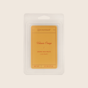 Valencia Orange Aroma Wax Melts transform a room with the fragrance of sweet oranges mixed with notes of apples and red berries with a hint of citrus peel. Aromatique Wax Melts are a set of 8 cubes that contain 100% food-grade paraffin wax and a highly fragrant aroma - no wicks or flames needed.
