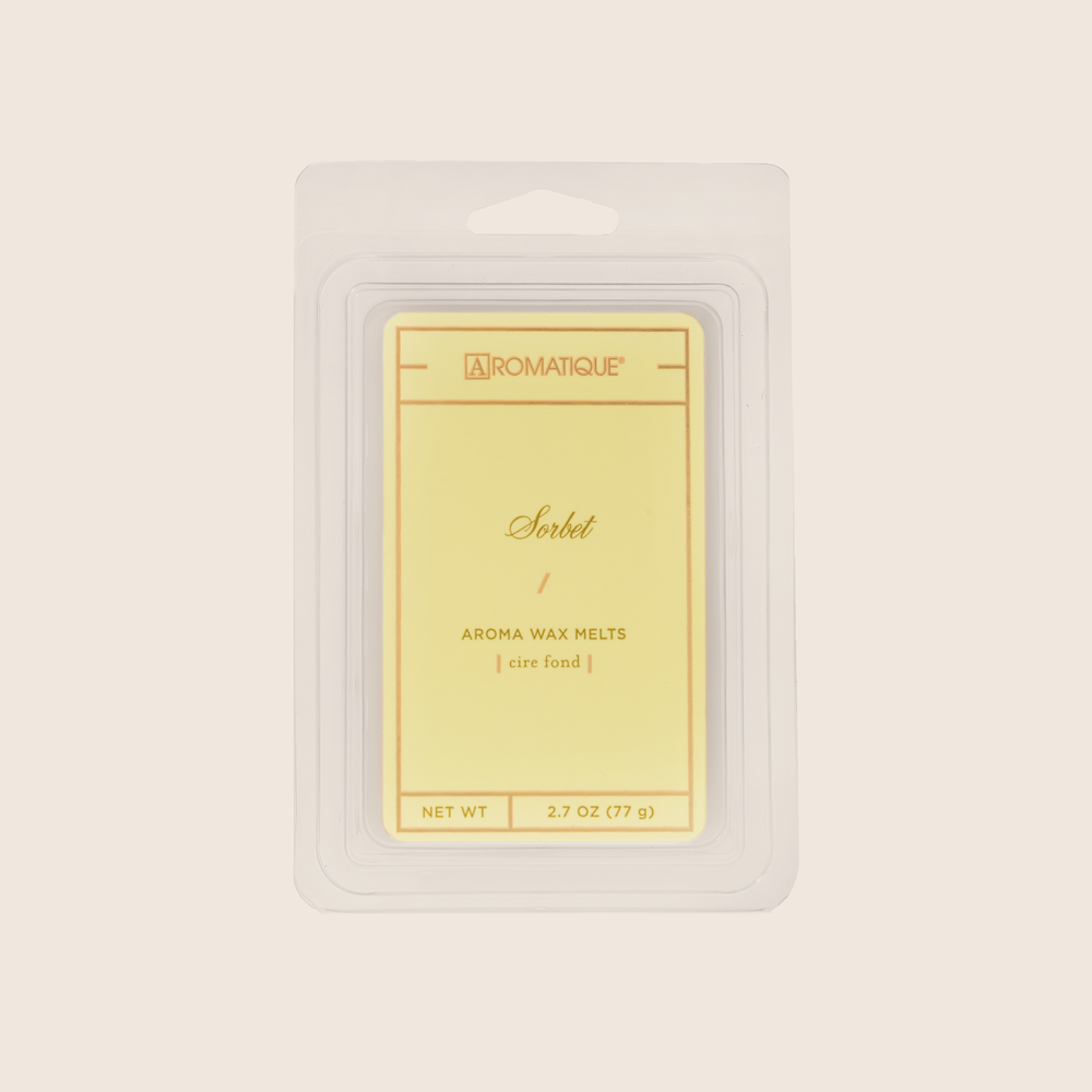 Sorbet Aroma Wax melts are fragranced with elements of lemon and lime entwined with peach, melon, and rose. Aromatique Wax Melts contain a set of 8 cubes made from 100% food-grade paraffin wax and a highly fragrant aroma - no wicks or flames needed.