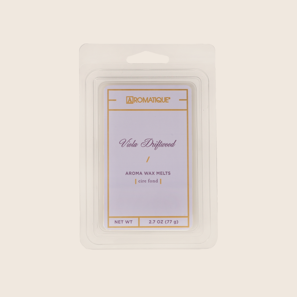 Viola Driftwood conjures an oceanside scene with a calm, watery fragrance of violet leaves paired with cedar, vetiver and infused citrus. Viola Driftwood Aroma Wax Melts contain a set of 8 cubes made from 100% food-grade paraffin wax and a highly fragrant aroma - no wicks or flames needed.