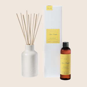 The Agave Pineapple Reed Diffuser set allows for the continuous release of fragrance over months at a time. Filled with the lush, fruity floral blend of pineapples and rosewood paired with sweet agave and jasmine - this reed diffuser is the perfect no-flame, fragrant accent to your favorite space.