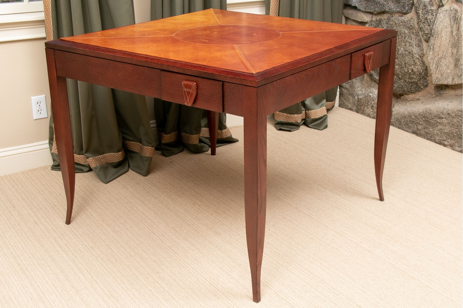 High-quality leather top game table custom crafted