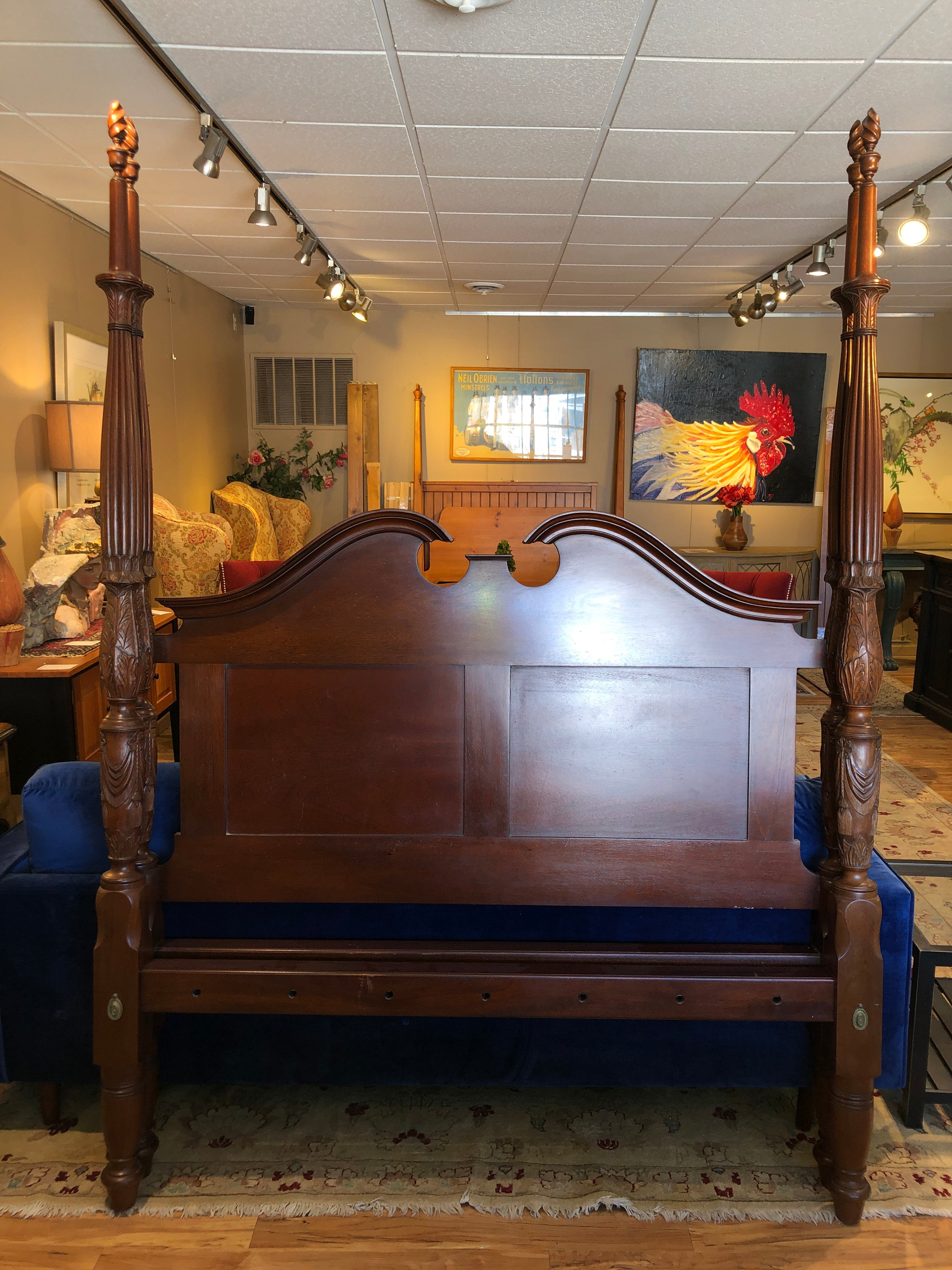 Leonard's seekonk, ma Philadelphia federal tall post bed with flame finials