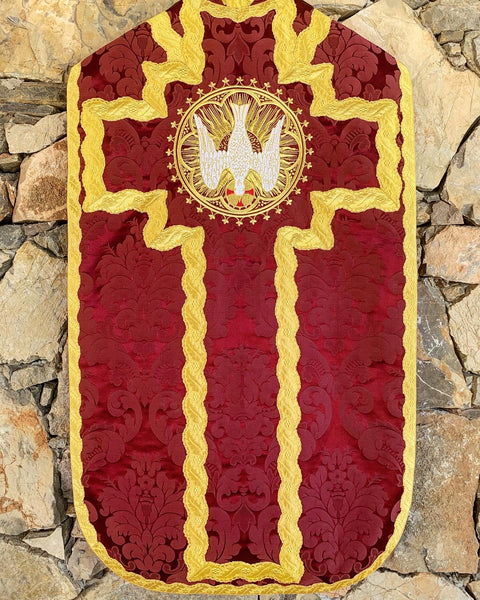 Bordeaux Silk French Chasuble - Sacra Domus Aurea